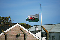 Thursday 15 June 2017<br /> Pictured: Flags flying half mast at Castlemartin range.<br /> Re: A soldier has been killed and three others injured after an incident involving a tank at a Ministry of Defence base in Pembrokeshire.<br /> The soldier, from the Royal Tank Regiment, died in the incident at Castlemartin Range.<br /> Two people were taken to Morriston Hospital in Swansea, while another casualty remains in Cardiff's University Hospital of Wales.<br /> An investigation is under way.<br /> Live firing was scheduled to take place at the range between Monday and Friday.<br /> In May 2012, Ranger Michael Maguire died during a live firing exercise at the training base. An inquest later found he was unlawfully killed.
