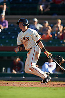 Scottsdale Scorpions shortstop Christian Arroyo (6) at bat during an Arizona Fall League game against the Surprise Saguaros on October 22, 2015 at Scottsdale Stadium in Scottsdale, Arizona.  Surprise defeated Scottsdale 7-6.  (Mike Janes/Four Seam Images)