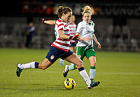 Lauren Cheney controls the ball. USWNT played played a friendly against Ireland at JELD-WEN Field in Portland, Oregon on November 28, 2012.