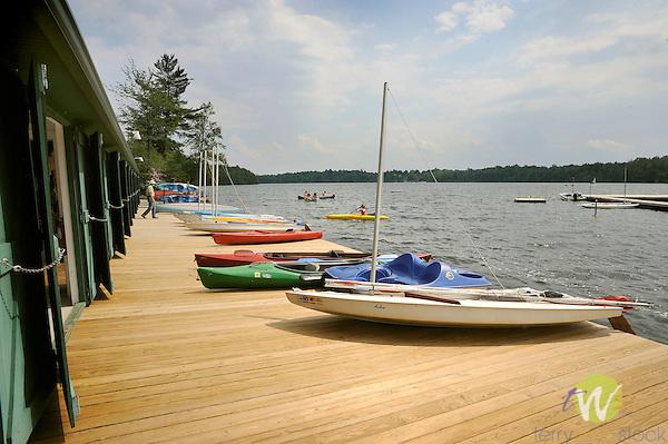 Boat dock at Eagles Mere Lake in summer.