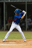 AZL Cubs 2 left fielder Ezequiel Pagan (32) at bat during an Arizona League game against the AZL Indians 2 at Sloan Park on August 2, 2018 in Mesa, Arizona. The AZL Indians 2 defeated the AZL Cubs 2 by a score of 9-8. (Zachary Lucy/Four Seam Images)