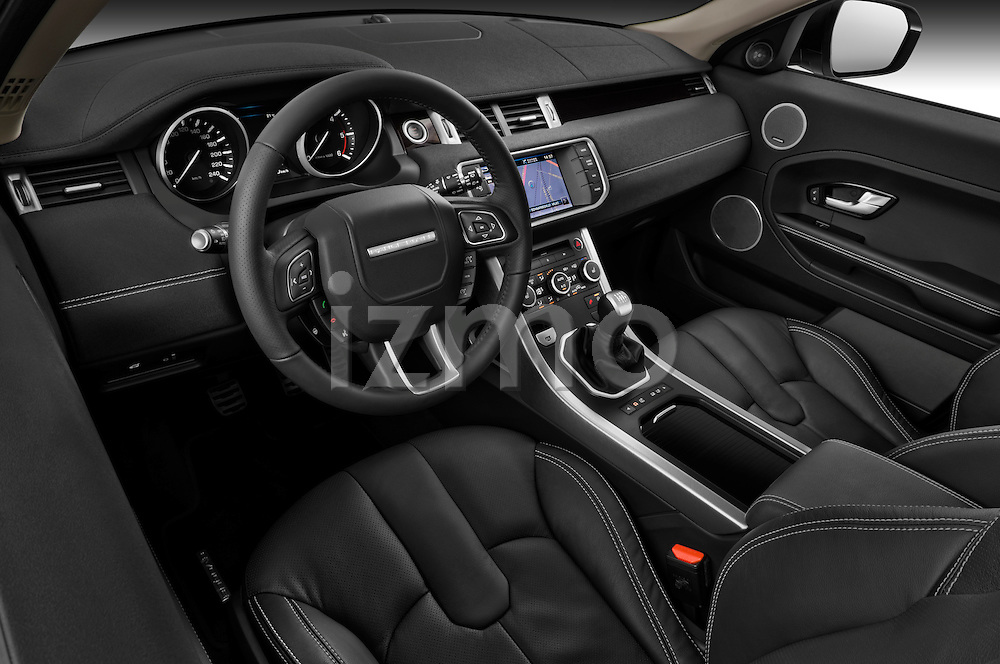 High angle dashboard view of a  2011 Land Rover Range Rover Evoque SUV