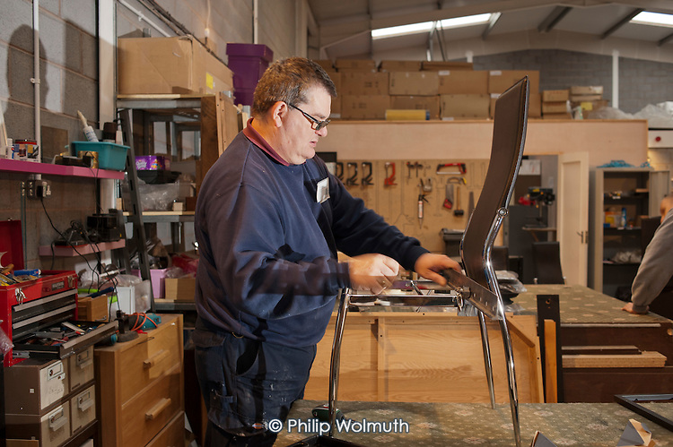 Doncaster Refurnish, a recycling social enterprise, South Yorkshire. The business takes damaged furniture from national retailers and works with trainees, offenders, welfare-to-work placements and employees on contract to supply its network of low-cost shops.
