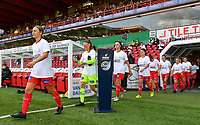 Zulte's players pictured entering the pitch before a female soccer game between Zulte Waregem and the KAA Gent Ladies on the fourth matchday of the 2020 - 2021 season of Belgian Scooore Womens Super League , saturday 10 October 2020  in Waregem , Belgium . PHOTO SPORTPIX.BE | SPP | DAVID CATRY