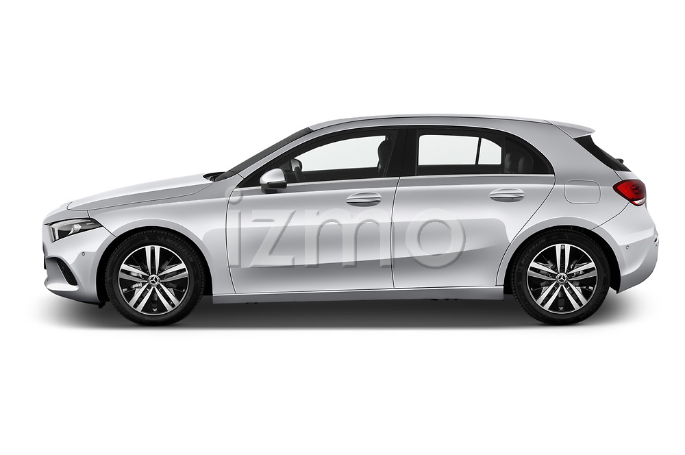 Car Driver side profile view of a 2019 Mercedes Benz A-Class Progressive 5 Door Hatchback Side View
