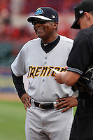Trenton Thunder Coach Tony Franklin during a game vs. the Erie Seawolves at Jerry Uht Park in Erie, Pennsylvania;  June 24, 2010.   Trenton defeated Erie 11-2.  Photo By Mike Janes/Four Seam Images