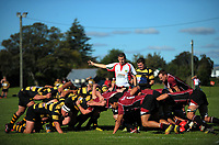 Referee Alistair Payne sets a scrum during the Wairarapa Bush club rugby match between Carterton and Eketahuna at Carterton Park, Carterton, New Zealand on Saturday, 22 April 2017. Photo: Dave Lintott / lintottphoto.co.nz