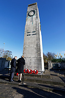 Pictured: Members of the public at the Cenotaph in Swansea, Wales, UK. Sunday 10 November 2019<br /> Re: Remembrance SUnday, a service to commemorate those who lost their lives in conflict has been held at the Cenotaph in Swansea, Wales, UK.