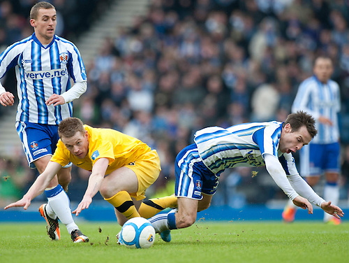 GLASGOW, SCOTLAND - JANUARY 28:  Ayr's Jamiie McKernon and Killie's Gary Hay during the Scottish Communities Cup Semi Final match between Ayr United and Kilmarnock at Hampden Park on January 28, 2012 in Glasgow, United Kingdom. (Photo by Rob Casey/Getty Images).