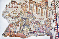 4th century Roman mosaic panel of Eros, a circus chariot rider of the Red Fraction. From Dougga, Tunisia.  The Bardo Museum, Tunis, Tunisia.