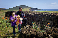 Rapa Nui, Easter island, oct 2011. Kacho Icka Pakarati muestra los trabajos arqueologicos que junto a su mujer Viki Contreras han restructurado a lo largo de 6 años. entre el 2000 y el 2006 han reesctrucurado mas de 300 antiguas esctructuras sin el ayuda de nadie. In Rapa Nui, also called Easter Island, the  king of the original people is back after a hundred years RirorokoTuki Valentino, the new monarch, is  an old man who has made his living as a farmer and fisherman and  traveled the world as a ship´s stowaways . <br /> He lives in a modest house in a rural area of the island near their 8 children and 24grandchildren.<br /> He was proclaimed King by the Assembly of Rapa Nui in July, and his reign has aunique purpose:  to finish with the Treaty of Wills from  1888, by which Chile took possession of Easter Island. The demand for Valentino and people ask seeks for Independence and also a billionare suit against Chilean state  for a century of apartheid and discrimination.