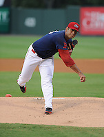 Starting pitcher Luis Diaz (34) of the Greenville Drive in a game against the Augusta GreenJackets on August 22, 2012, at Fluor Field at the West End in Greenville, South Carolina. This was game two of a doubleheader. (Tom Priddy/Four Seam Images)