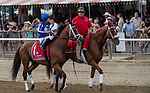 August 07, 2021: By My Standadards #1, ridden by jockey Gabe Saez in the post parade before the Grade 1 Whitney Stakes at Saratoga Race Course in Saratoga Springs, N.Y. on August 7, 2021. Robert Simmons/Eclipse Sportswire/CSM