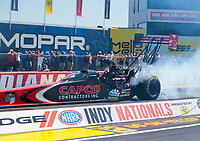 Aug 8, 2020; Clermont, Indiana, USA; NHRA top fuel driver Billy Torrence during qualifying for the Indy Nationals at Lucas Oil Raceway. Mandatory Credit: Mark J. Rebilas-USA TODAY Sports