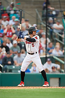 Rochester Red Wings Drew Maggi (5) at bat during an International League game against the Buffalo Bisons on May 31, 2019 at Frontier Field in Rochester, New York.  Rochester defeated Buffalo 5-4 in ten innings.  (Mike Janes/Four Seam Images)