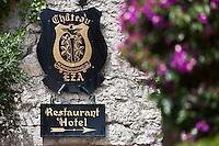 Europe/France/Provence-Alpes-Côte d'Azur/06/Alpes-Maritimes/Èze-Village: Enseigne de l'Hôtel-Restaurant: Château Eza