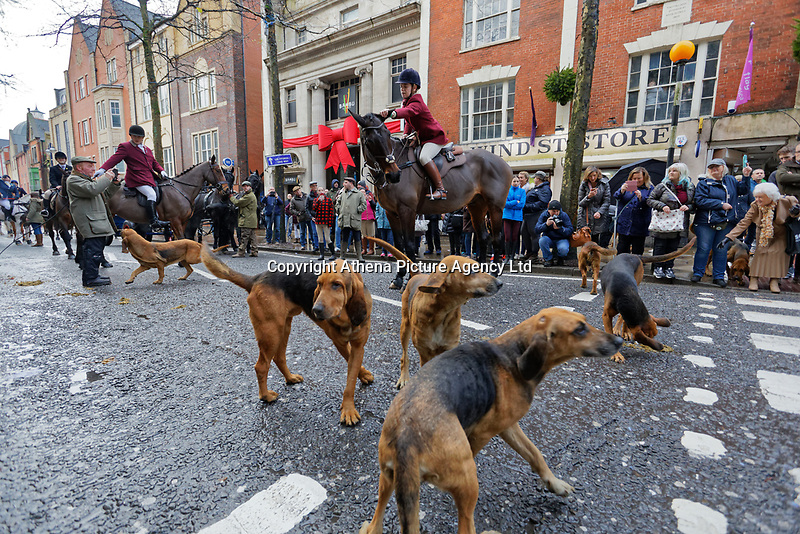 Pictured: Hounds gather in Wind Street, Swansea. Thursday 26 December 2019<br /> Re: Guitarist Brian May of Queen has joined the Boxing Day Hunt in Wind Street, Swansea, Wales, UK.