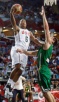 Derrick ROSE (USA) passes Paulius JANKUNAS (Lithuania)  during the semi-final World championship basketball match against Lithuania in Istanbul, USA-Lithuania, Turkey on Saturday, Sep. 11, 2010. (Novak Djurovic/Starsportphoto.com) .