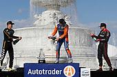 Marcus Ericsson, Arrow Schmidt Peterson Motorsports Honda, Scott Dixon, Chip Ganassi Racing Honda, Will Power, Team Penske Chevrolet, podium, champagne
