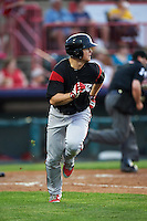 Richmond Flying Squirrels third baseman Christian Arroyo (22) runs to first after hitting a double during a game against the Erie SeaWolves on May 27, 2016 at Jerry Uht Park in Erie, Pennsylvania.  Richmond defeated Erie 7-6.  (Mike Janes/Four Seam Images)