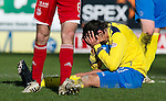 Aberdeen v St Johnstone....19.02.12   SPL.Fran Sandaza holds his head in his hands after a shooting over the bar.Picture by Graeme Hart..Copyright Perthshire Picture Agency.Tel: 01738 623350  Mobile: 07990 594431