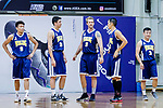 (From left to right) Fok Ka Ming #9, Vollmerich Scott #24, Hosford Ian Daniel #5, Joe Glen Matthew #13, and Liang Man Hung #3 of Winling Basketball Club walks on the court during the Hong Kong Basketball League game between Eagle and Winling at Southorn Stadium on May 4, 2018 in Hong Kong. Photo by Yu Chun Christopher Wong / Power Sport Images