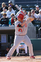 Danny Canela of the North Carolina State Wolfpack at the plate in a game against  the Coastal Carolina University Chanticleers at the Baseball at the Beach Tournament held at BB&T Coastal Field in Myrtle Beach, SC on February 28, 2010.