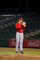 AZL Angels relief pitcher John Swanda (62) prepares to deliver a pitch to the plate against the AZL White Sox on August 14, 2017 at Diablo Stadium in Tempe, Arizona. AZL Angels defeated the AZL White Sox 3-2. (Zachary Lucy/Four Seam Images)