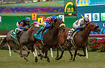 DEL MAR, CA  JULY 24: #2 Going Global, ridden by Flavien Prat, and #9 Madone, ridden by Juan Hernandez, battling in the stretch of the San Clemente Stakes (Grade ll) on July 24, 2021 at Del Mar Thoroughbred Club in Del Mar, CA  (Photo by Casey Phillips/Eclipse lSportswire/CSM)
