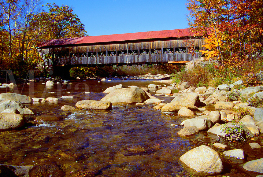 Scenic view of the White Mountain Forest Bridge on the Swift River. New Hampshire.