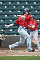 Brett Netzer (13) of the Salem Red Sox follows through on his swing against the Winston-Salem Dash at BB&T Ballpark on April 22, 2018 in Winston-Salem, North Carolina.  The Red Sox defeated the Dash 6-4 in 10 innings.  (Brian Westerholt/Four Seam Images)