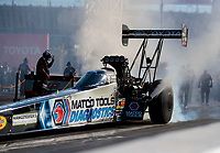 Nov 1, 2019; Las Vegas, NV, USA; NHRA top fuel driver Antron Brown during qualifying for the Dodge Nationals at The Strip at Las Vegas Motor Speedway. Mandatory Credit: Mark J. Rebilas-USA TODAY Sports