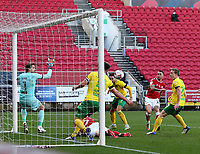 31st October 2020; Ashton Gate Stadium, Bristol, England; English Football League Championship Football, Bristol City versus Norwich; The Goal scored by Jack Hunt of Bristol City for 1-1 in the 15th minute from close in