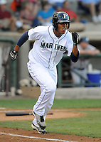 Outfielder Jose Rivero (58) of the Pulaski Mariners in a game against the Danville Braves on July 19, 2010, at Calfee Park in Pulaski, Va. Photo by: Tom Priddy/Four Seam Images