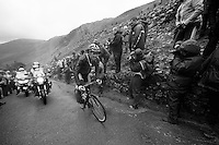 Roman Van Uden (NZL) up Honister Pass on the cruel 23% part<br /> <br /> Tour of Britain<br /> stage 2: Carlisle to Kendal (187km)