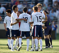 USA team celebrates their victory. The USA defeated China, 4-1, in an international friendly at Spartan Stadium, San Jose, CA on June 2, 2007.