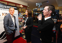 """Pictured: Manager Garry Monk (L) gets interviewed. Sunday 14 September 2014<br /> Re: Film premiere of """"Jack To A King"""" depicting the recent history pf Swansea City Football Club, at the Odeon Cinema, Swansea, south Wales, UK."""