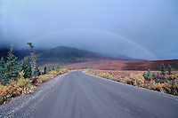 Denali Highway with rainbow, Alaska, USA