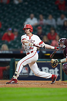 Nick Hanks (44) of the Louisiana Ragin' Cajuns follows through on his swing against the Mississippi State Bulldogs in game three of the 2018 Shriners Hospitals for Children College Classic at Minute Maid Park on March 2, 2018 in Houston, Texas.  The Bulldogs defeated the Ragin' Cajuns 3-1.   (Brian Westerholt/Four Seam Images)