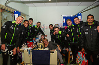 Pictured: Swansea City players at Morriston Hospital, Swansea, Wales, UK. Thursday 19 December 2019