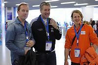 OLYMPICS: SOCHI: Iceberg Skating Palace, 10-02-2014, Edwin Evers (radio dj), Peter Heerschop (cabaretier), Epke Zonderland, ©foto Martin de Jong