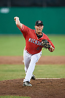 Batavia Muckdogs relief pitcher Jameson McGrane (45) delivers a pitch during a game against the West Virginia Black Bears on July 3, 2018 at Dwyer Stadium in Batavia, New York.  Batavia defeated West Virginia 5-4.  (Mike Janes/Four Seam Images)