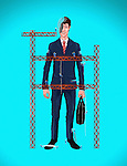 Illustrative image of construction workers building up businessman representing development
