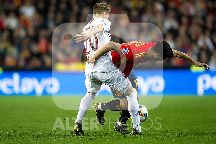 Norway's Martin Odegaard and Spain's Daniel Ceballos  during the qualifying match for Euro 2020 on 23th March, 2019 in Valencia, Spain. (ALTERPHOTOS/Alconada)