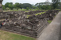 Yogyakarta, Java, Indonesia.  Prambanan Hindu Temples.  Stones of Unreconstructed Buildings Awaiting Archaeologists' Time and Funding.
