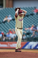 Andrew Karp (19) of the Florida State Seminoles in action against the North Carolina Tar Heels in the 2017 ACC Baseball Championship Game at Louisville Slugger Field on May 28, 2017 in Louisville, Kentucky. The Seminoles defeated the Tar Heels 7-3. (Brian Westerholt/Four Seam Images)