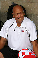 August 7, 2009:  Cal Ripken Jr. in the dugout during the Under Armour All-America practice at Les Miller Field in Chicago, IL.  Photo By Mike Janes/Four Seam Images