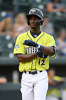 Center fielder Gerson Molina (12) of the Columbia Fireflies in a game against the Augusta GreenJackets on Thursday, July 11, 2019 at Segra Park in Columbia, South Carolina. Columbia won, 5-2. (Tom Priddy/Four Seam Images)