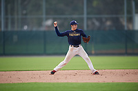 Ricky Nieto (58), from New Braunfels, Texas, while playing for the Padres during the Baseball Factory Pirate City Christmas Camp & Tournament on December 28, 2017 at Pirate City in Bradenton, Florida.  (Mike Janes/Four Seam Images)