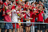 WASHINGTON, DC - SEPTEMBER 6: Maryland fans after a goal during a game between University of Virginia and University of Maryland at Audi Field on September 6, 2021 in Washington, DC.